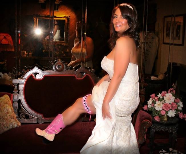 Pink Zebra Director Boots Look Great with My Wedding  Gown